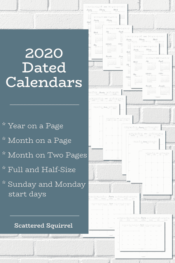These free, printable, dated 2020 calendars are great to use for so many things. Put them in your planner, on your command center, or use them for project planning, meal planning, and more.