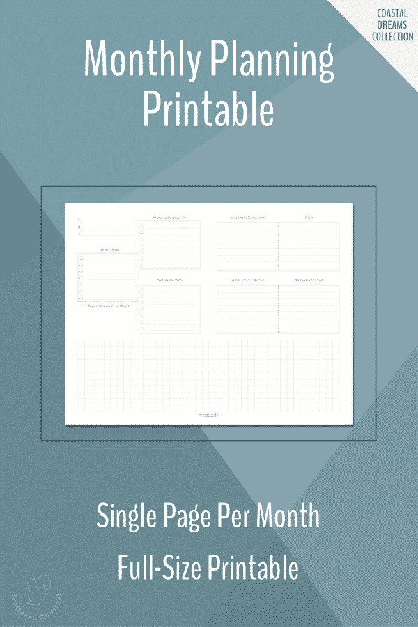 The single page monthly planning printables were designed to work with the single page monthly calendar. Pick a focus for your month, prioritize your tasks, and documents your joys and wins for the month.