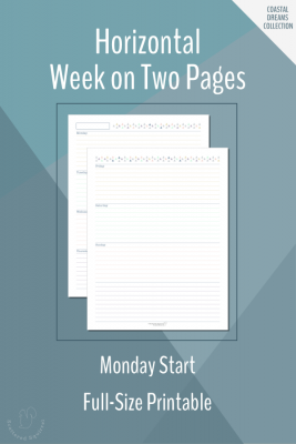 These full-size (letter size) free weekly planner printables features a Monday start, horizontal week on two pages layout.