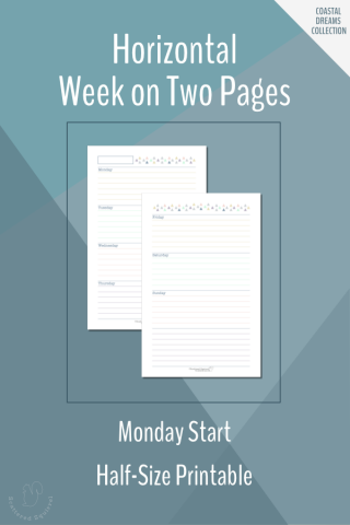 These free weekly planners features a Monday start, horizontal week on two pages layout. This weekly planner printable is a half-size.