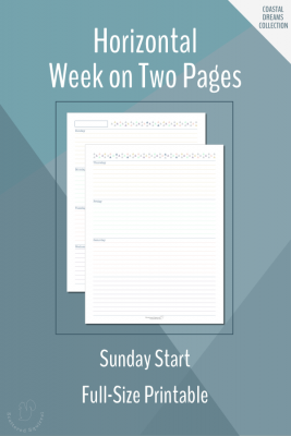 These free weekly planner printables features a Sunday start, horizontal week on two pages layout, in full-size.