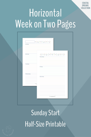 These free weekly planner printables features a Sunday start, horizontal week on two pages layout, in half-size.