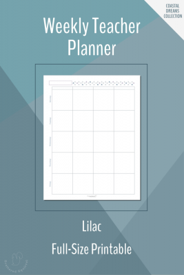 Weekly Teacher Planner Printable in Full-Size in Lilac