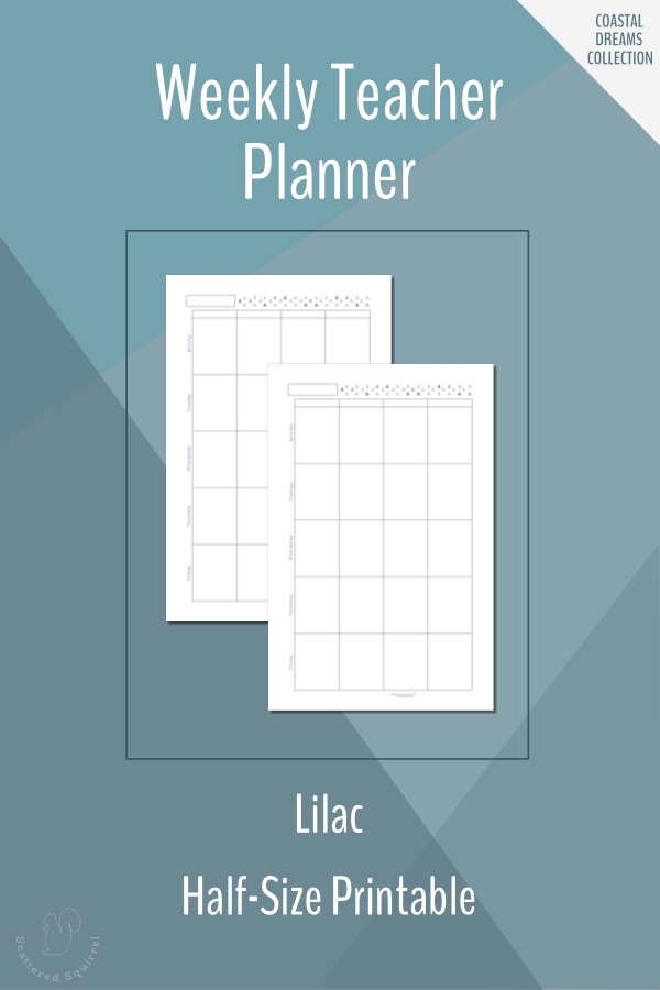 Weekly Teacher Planner Printable in Half-Size in Lilac