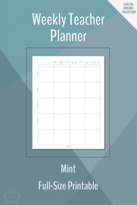 Weekly Teacher Planner Printable in Full-Size in Mint