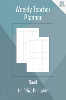 Weekly Teacher Planner Printable in Half-Size in Sand