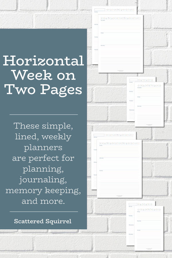 Free printable, horizontal week on two pages printables, come in two sizes with your choice of Sunday or Monday starts. The lined day sections are simple and easily used to in many different ways.