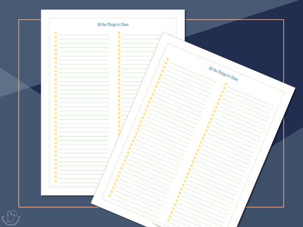 A closer look at the list pages in the spring cleaning planner