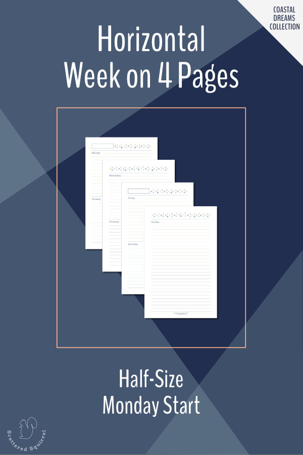 This half-size, horizontal week on four pages features a Monday start, 7 lined daily boxes and a notes box at the end of the week.
