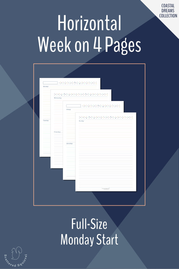 This full-size, (US Letter) horizontal week on four pages features a Monday start, 7 lined daily boxes and a notes box at the end of the week.
