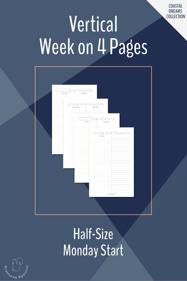This set of planner printables is a half-size week on four pages layout with vertical columns for the days plus one for notes, goals, or whatever you would like to use it for.