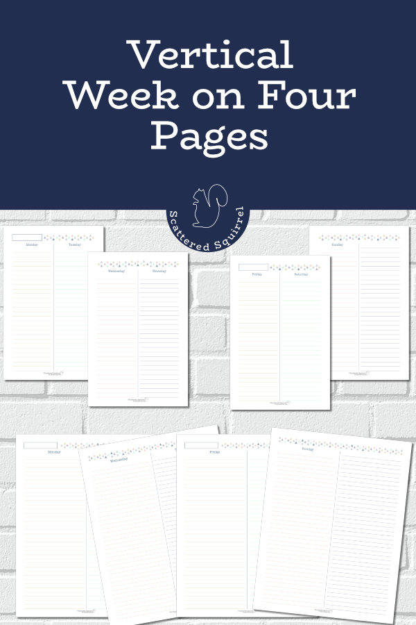 A vertical week on four pages planner is a great choice for a student planner, home planner, memory keeping, or even just for those who like to have extra room when planning their days.