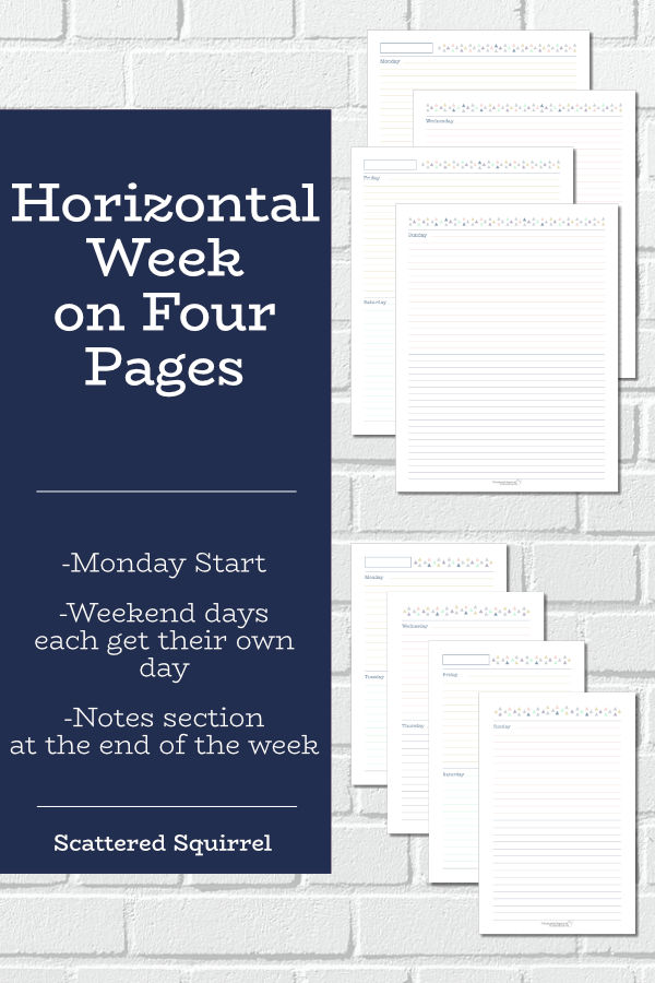 Designed with students in mind, these horizontal week on four pages printables have plenty of planning room.
