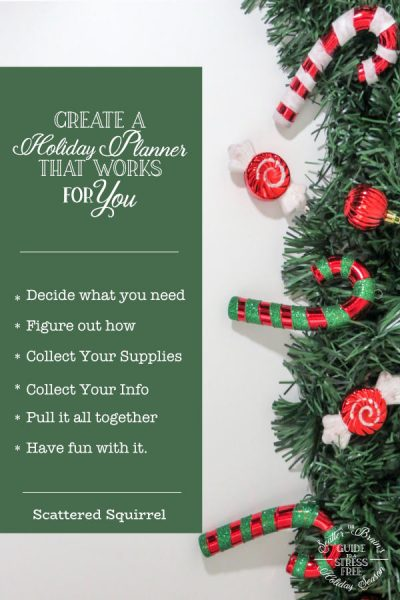 A great way to reduce stress during the holidays is to create a holiday planner. Tailor it to fit your planning needs each holiday season and it will help make the holiday season run much smoother.