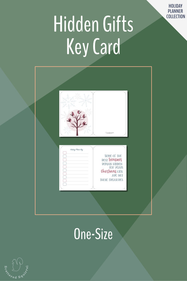 Keep track of where you've hidden the gifts with this hiding place key card. Pair it with our holiday gift tracker so no present will get lost this year.