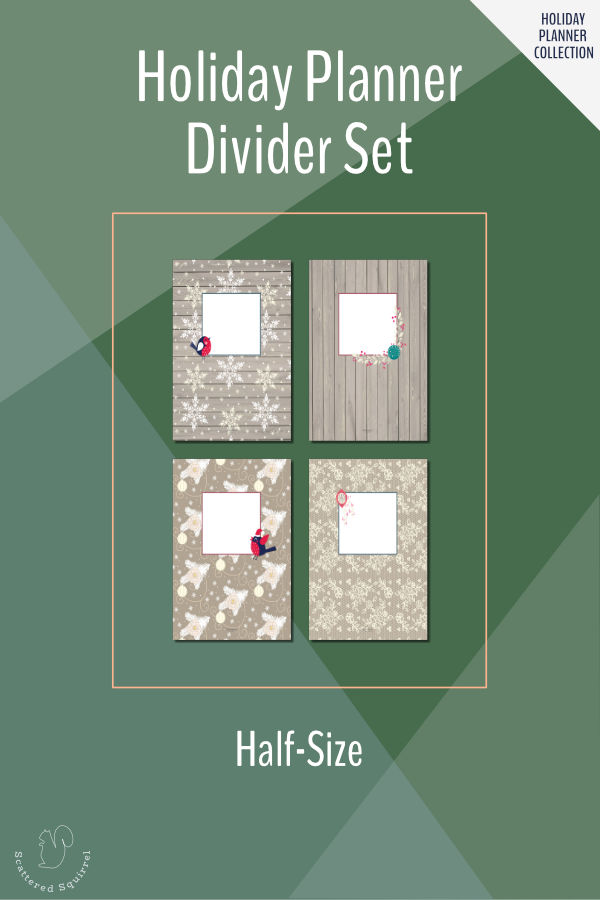 These free, printable, half-size divider pages are a pretty way to organize your holiday planner.