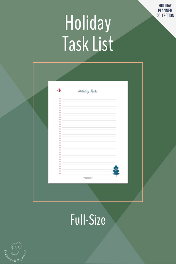 Keep track of all your holiday tasks and to-dos with this full-size, printable, Holiday Task list