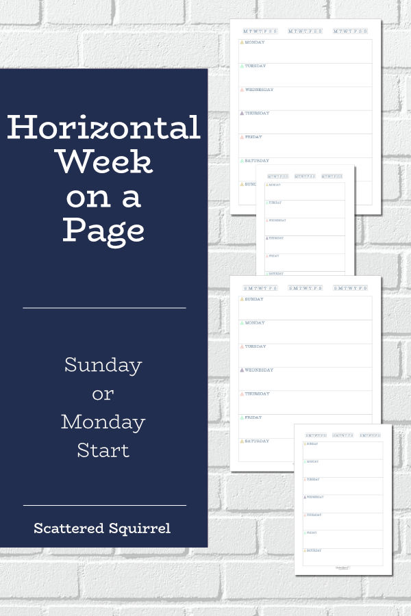 Keep all your weekly plans on one page with these horizontal week per page printables. You have your choice of a Sunday or Monday start and they come in two sizes, full letter and half-size. These weekly planner printables are great for creating a snap shot of your week.