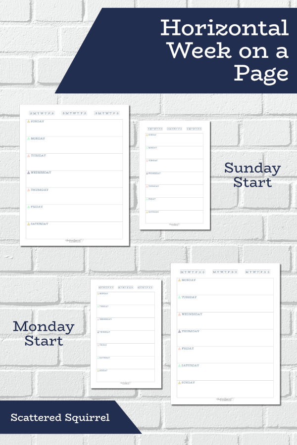 These horizontal week on a page printables are undated and come in both Sunday and Monday starts. They're perfect for those who love the horizontal layout and don't need a lot of room for planning.