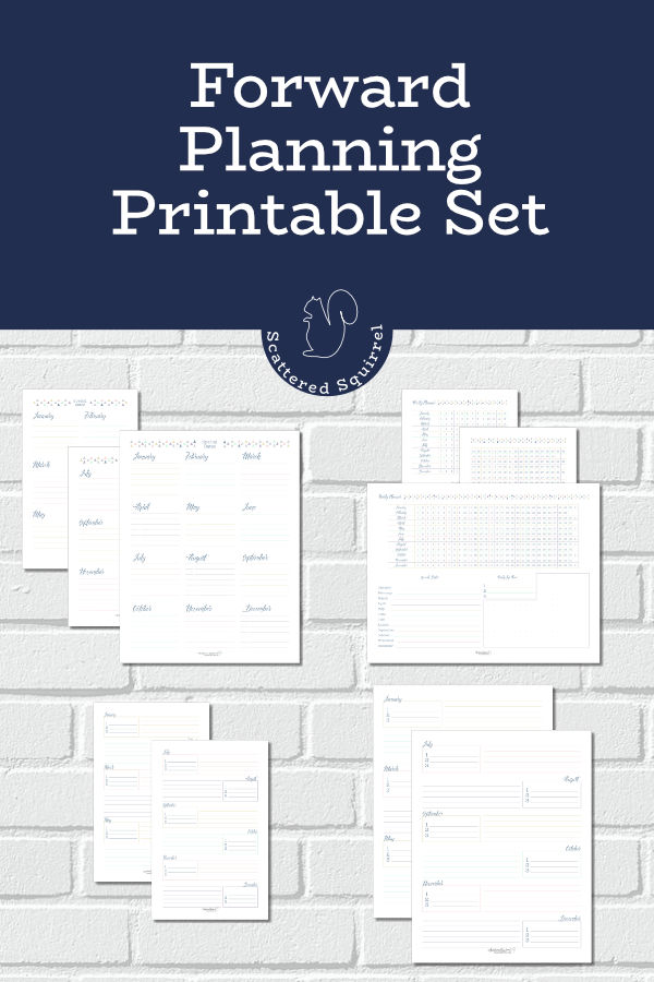 The forward planning printable set comes with a yearly overview, yearly planner, and special dates log. You can pick and choose which ones will work best for your needs. Use these pages to plan ahead so that your important events, tasks, and dates don't sneak up on you.