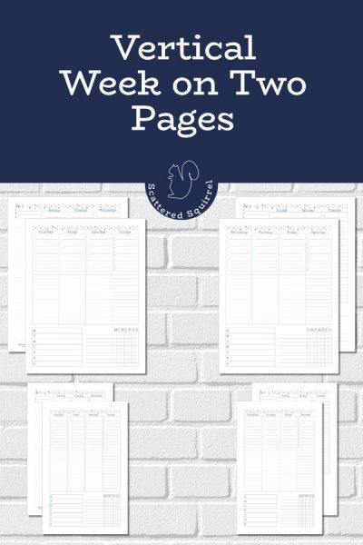 Check out these vertical week on two pages planner printables. They come in Sunday and Monday starts, and have built in habit trackers.