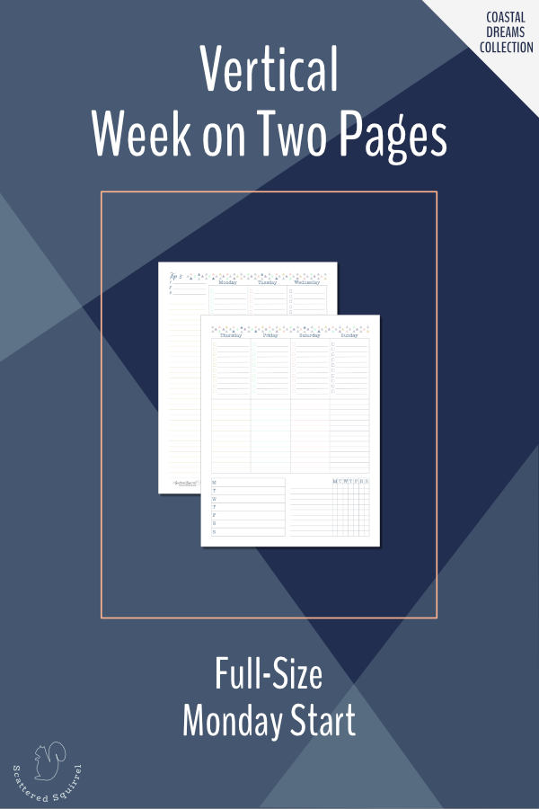 This printable set is a vertical week on two pages in full letter size featuring a Monday start day.