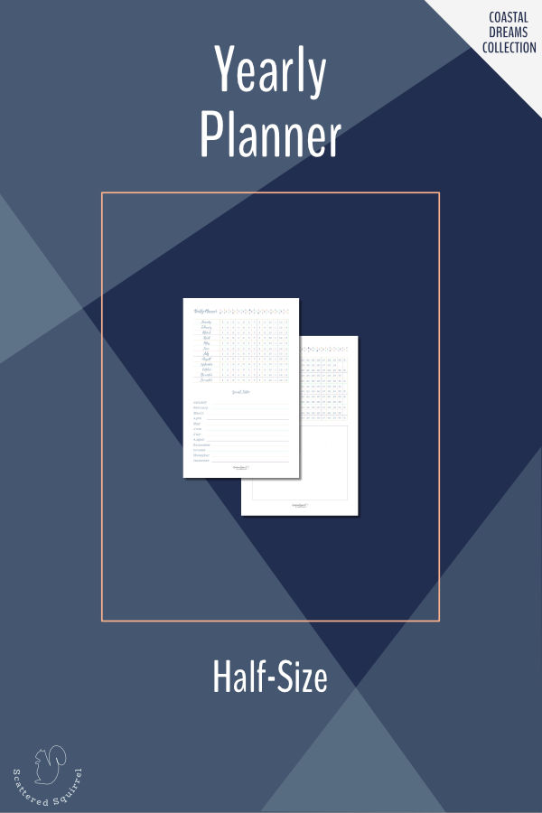 Plan ahead for the whole with the half-size yearly planner. Use the date grid to plan holidays, mark special dates, or as a year-long tracker. There is room to mark special dates, set your top three goals for the year, and make notes. Fits most A5 planners and mini binders.
