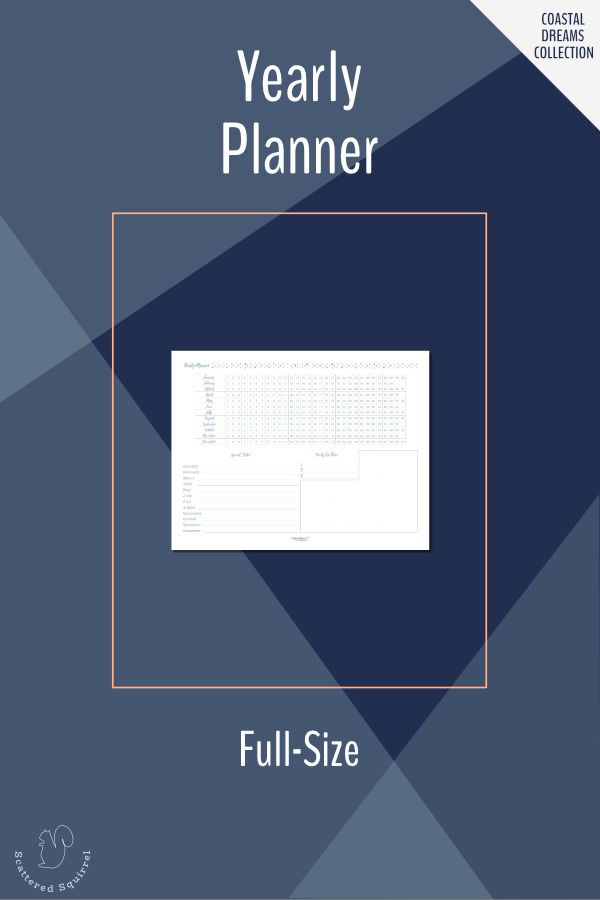 Plan ahead for the whole with theyearly planner. Features a date grid for planning holidays, marking special dates, or tracking a habit all year long. There is room to mark special dates, set your top three goals for the year, and make notes. Prints in landscape on letter size paper.
