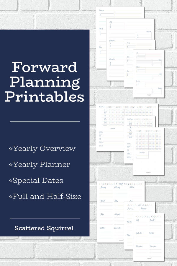 Plan your year with these forward planner printables. The set includes a yearly overview, yearly planner, and special dates pages. Use them for goal setting, project planning, or for creating a snap shot of your year.