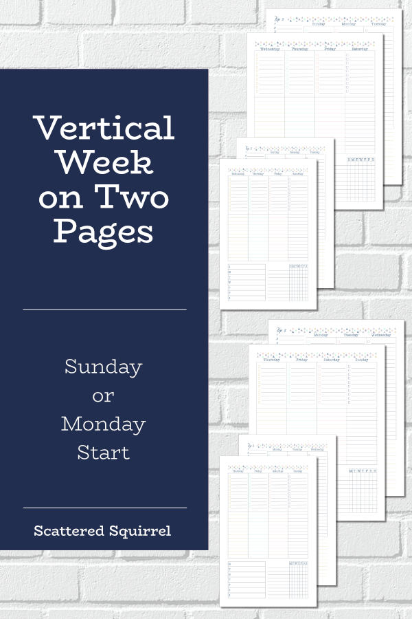 The vertical week on two pages is a classic planner layout. These planner printables come in both full and half letter size, with your choice of a Sunday or Monday start day.
