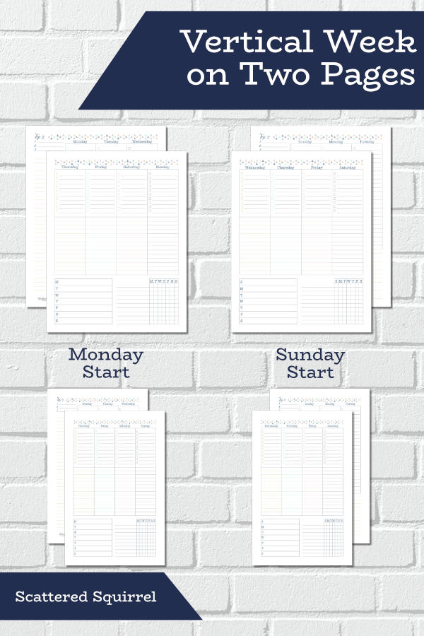 These free weekly planner printables are a week on two page layout. They come in both full and half letter size and feature a Sunday or Monday start day, built in habit tracker, and plenty of room for notes and customization.