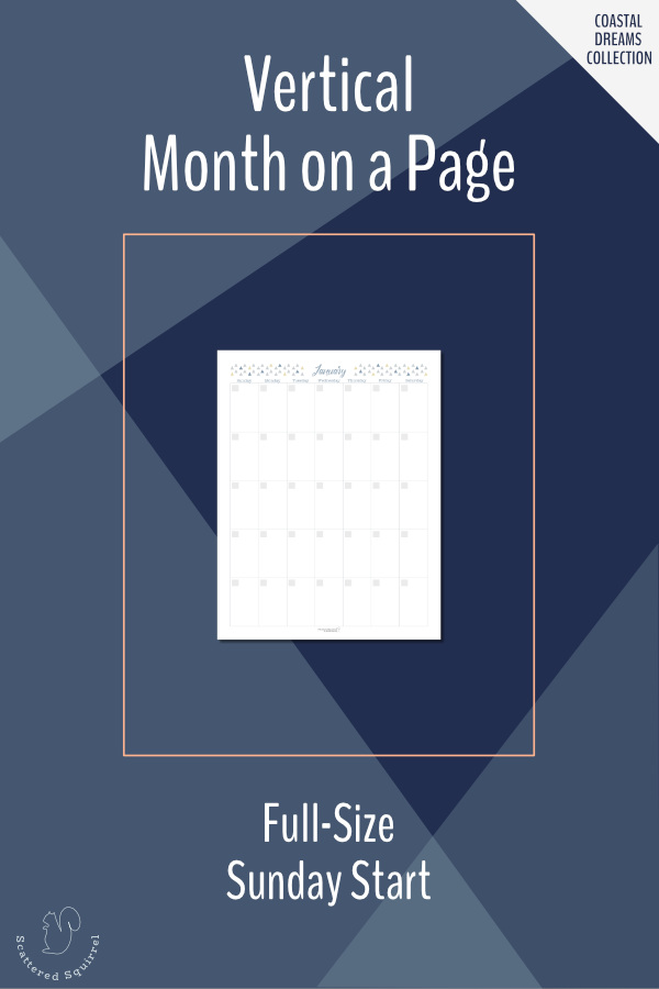 Vertical, month per page, undated calendars in letter size featuring a Sunday start.