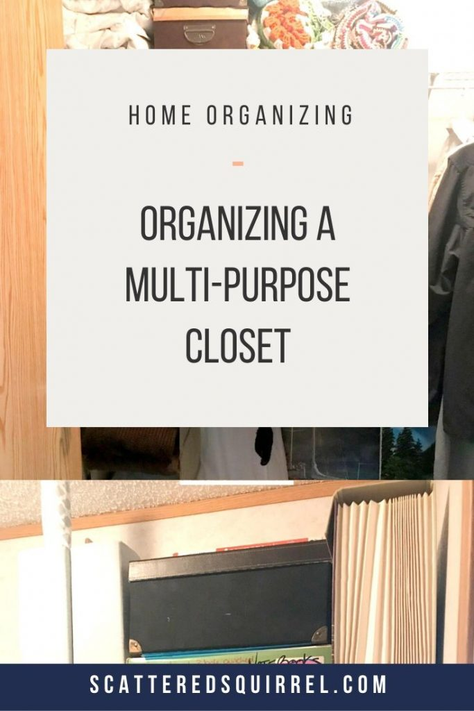 Here's how I organized our multi-purpose closet. This closet is our master closet, linen closet, extra storage space, office overflow space, and home to our printer. It's a hard working closet and here's how I organized it.