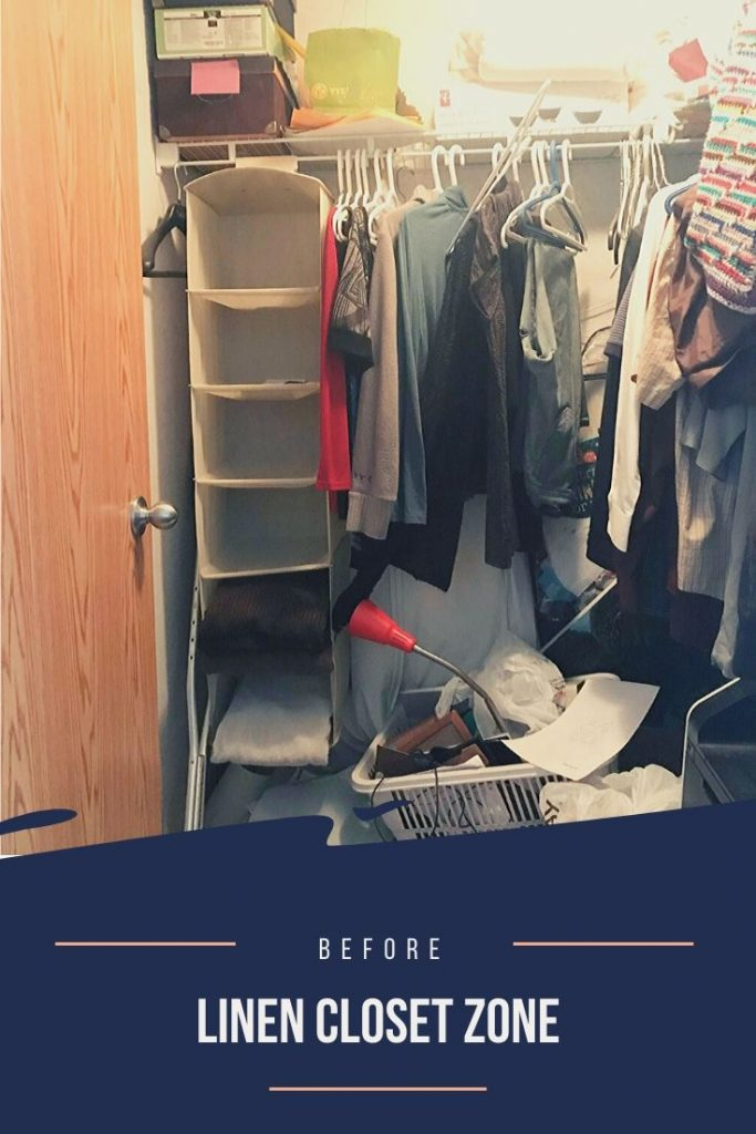 Linen closet zone before - it's a mess. Clutter on the floor and clutter on the shelf makes this area a disaster zone.