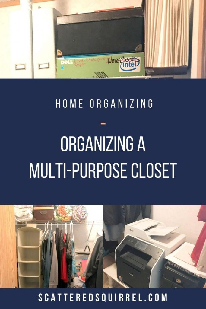 Do you have a hardworking closet in your home? We have one that needs to serve FIVE different purposes. Here's how I organized it.