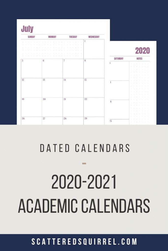 Printable Dated Academic Calendars. These calendars come in two different sizes, Monday or Sunday start days, and your choice of two different layouts.