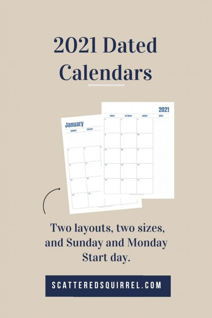 With two different start days and two different layouts in two different sizes to choose from, these 2021 calendar printables are a great free resource for your planning system.