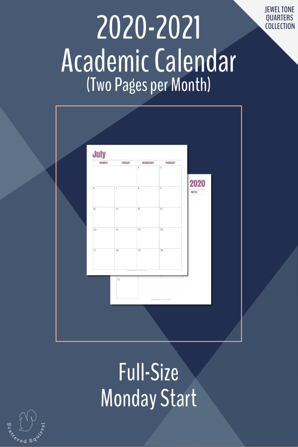 This is a printable, dated calendar for the 2020-2121 Academic year. It features a two pages per month layout in portrait orientation, Monday start, and dot grid notes sections.