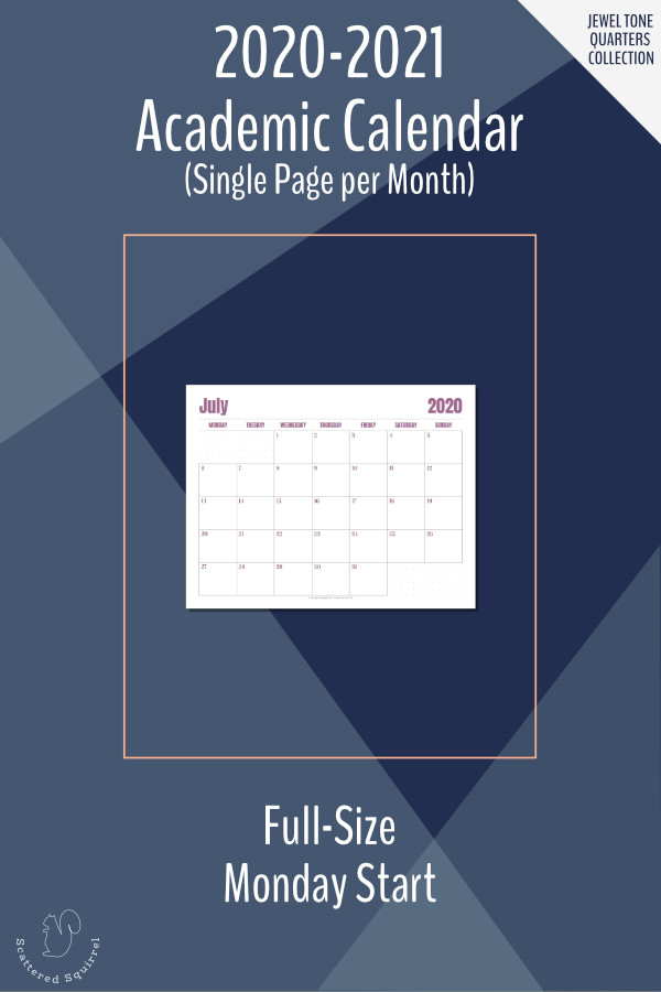 This is a printable, dated calendar for the 2020-2121 Academic year. It features a single page per month layout in landscape orientation, Monday start, and dot grid notes sections.