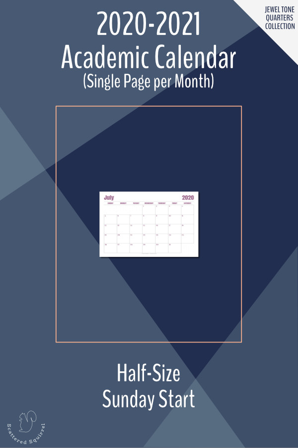 This printable, dated, academic calendar is for the 2020-2021 academic year. It is half letter size in a single page per month layout in landscape orientation and features a Sunday start day and dot grid notes sections.