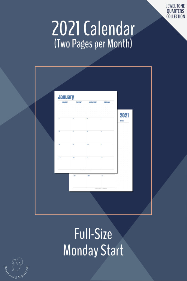 This Monday start, two pages per month, 2021 dated calendar printable is a great planner addition. It features a monochromatic colour scheme that changes each quarter and lots of room for notes and reminders.