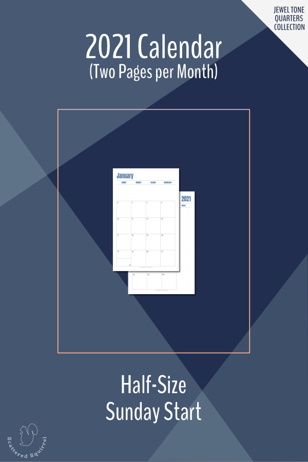 This Sunday start, two pages per month, 2021 dated calendar printable is a great planner addition. It features a monochromatic colour scheme that changes each quarter and lots of room for notes and reminders and prints on half-size letter paper.