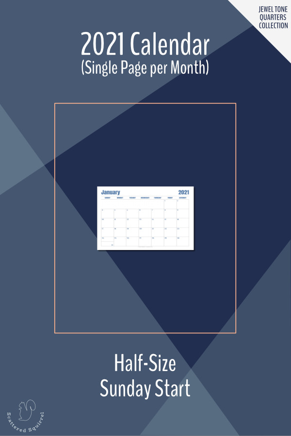 This printable calendar is a single page per month layout for the 2021 calendar year. It features a Sunday start, notes space, and monotone colour pallette that changes each quarter. It prints on half-letter size paper.