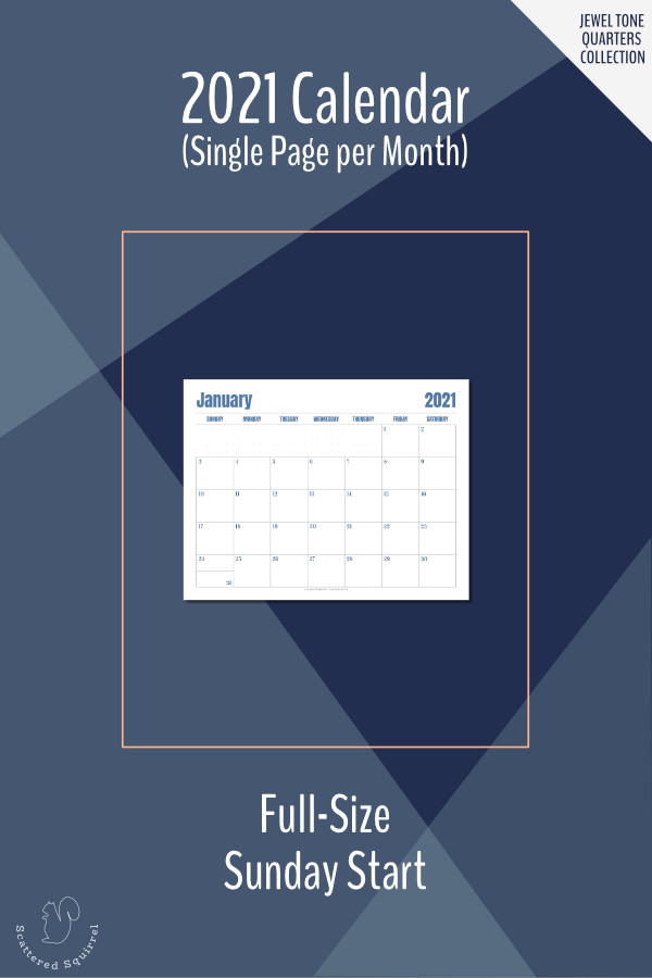 This printable calendar is a single page per month layout for the 2021 calendar year. It features a Sunday start, notes space, and monotone colour pallette that changes each quarter.