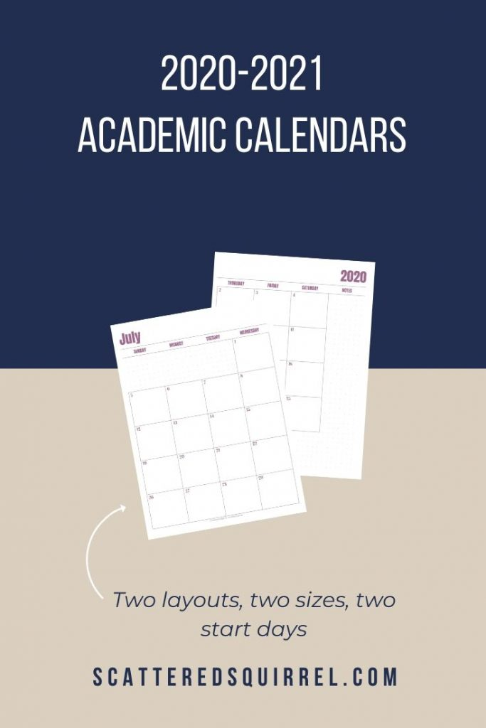 The 2020-2021 Academic Calendars are ready. These free printables come in eight different options to choose from and they print great in colour or greyscale.