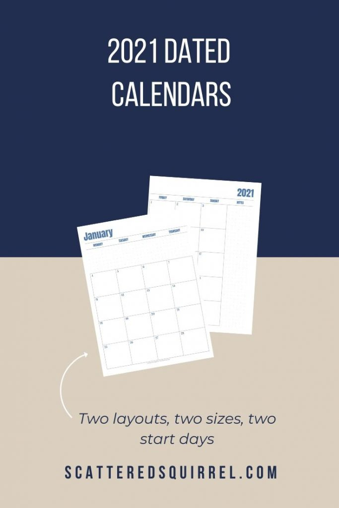 These 2021 dated calendar printables are a fantastic addition to your planner. They come with your choice of two layouts in two different sizes and a Sunday or Monday start day.